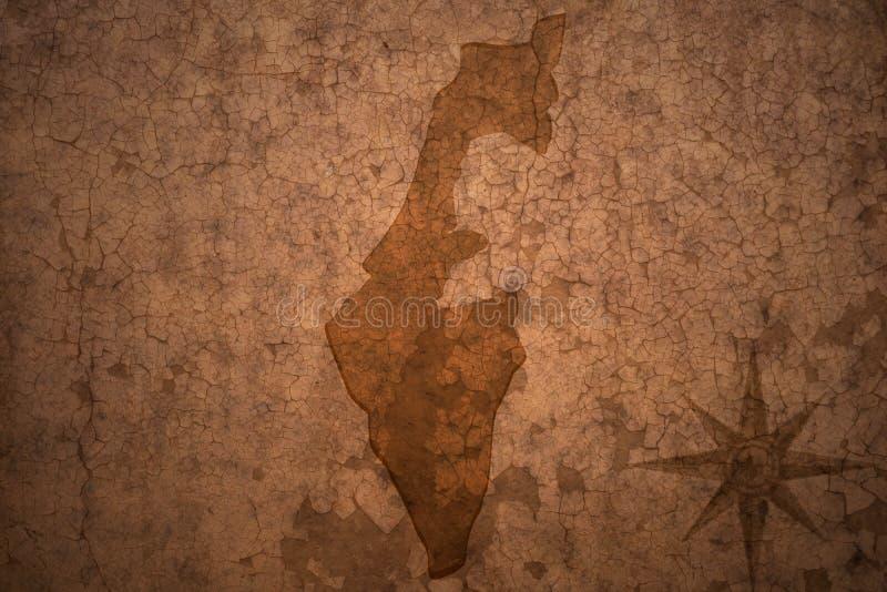 Карта Израиля на винтажной бумажной предпосылке стоковая фотография