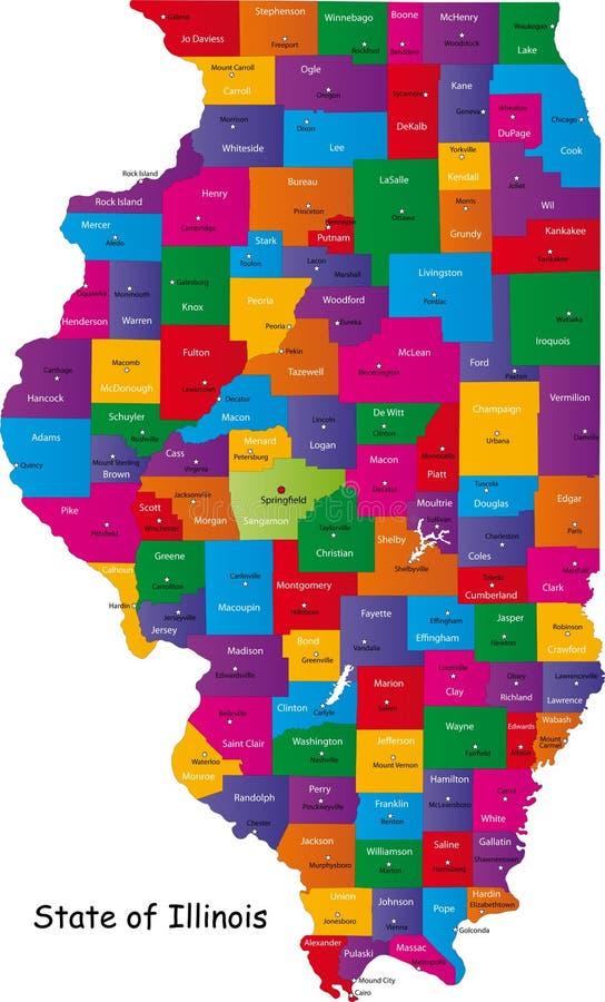 Карта Иллиноис Стоковые Изображения