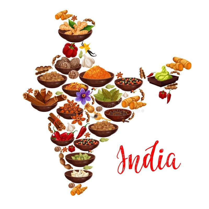 Карта Индии вектора индийских специй иллюстрация вектора