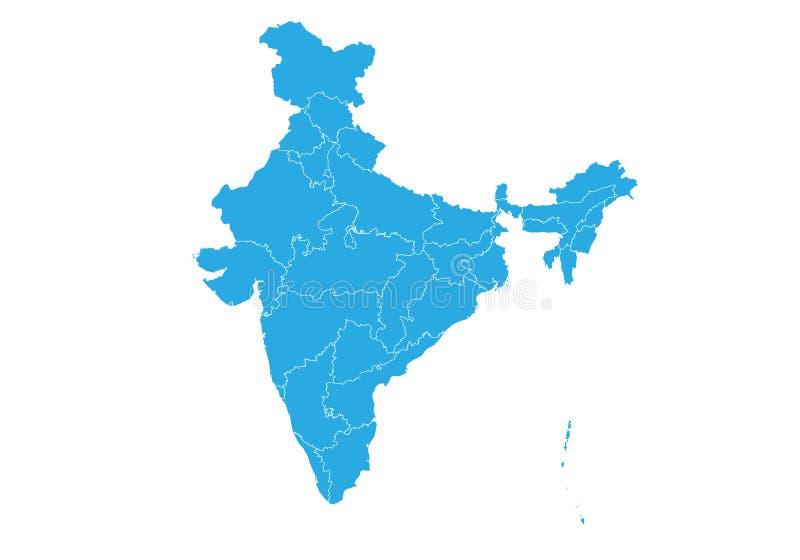 карта Индии Высокая детальная карта вектора - Индия иллюстрация вектора