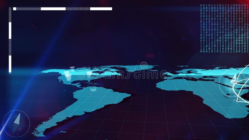 Карта интернета мира с битами и столбцами на ей бесплатная иллюстрация