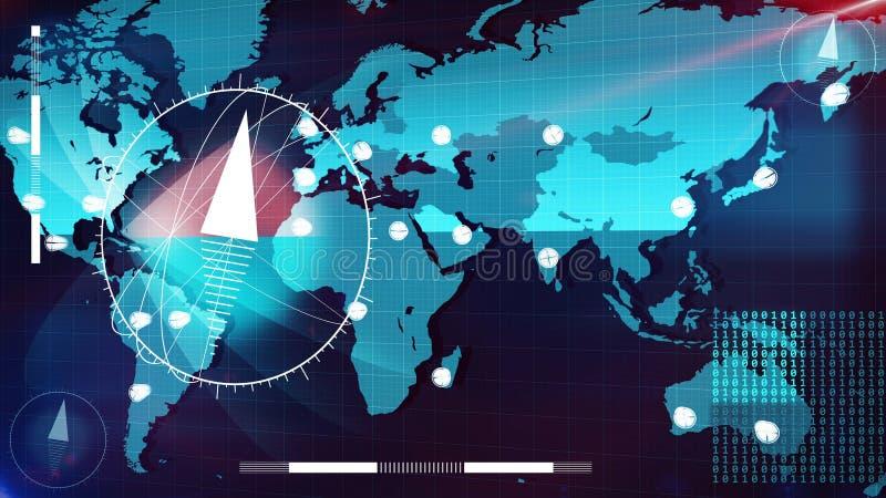Карта интернета мира с стрелками и компасами часов бесплатная иллюстрация