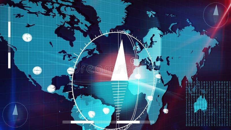 Карта интернета мира с часами и компасами на ей бесплатная иллюстрация