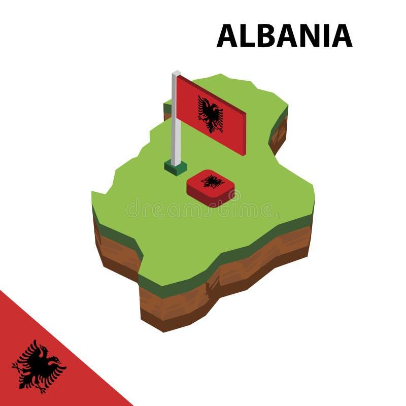 Карта информации графические равновеликие и флаг Албании r иллюстрация штока