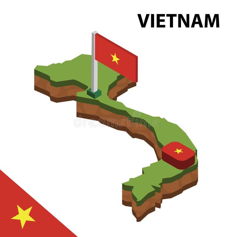 Карта информации графические равновеликие и флаг ВЬЕТНАМА r иллюстрация вектора