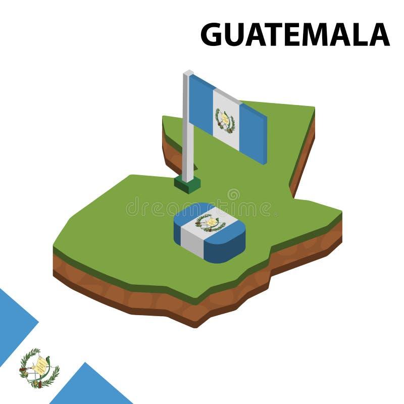 Карта информации графические равновеликие и флаг ГВАТЕМАЛЫ r иллюстрация вектора