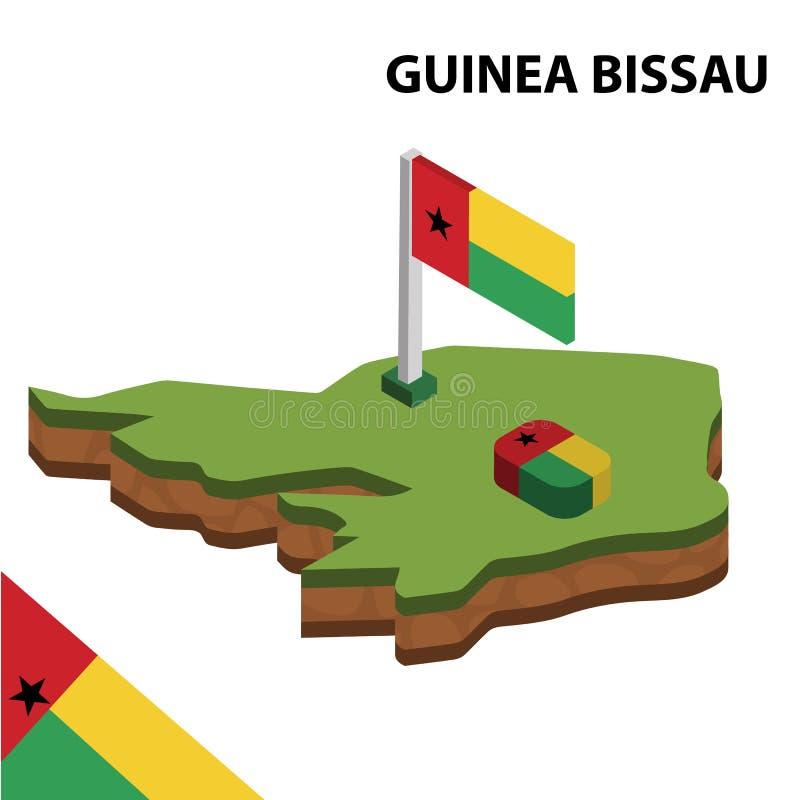 Карта информации графические равновеликие и флаг ГВИНЕИ-БИСАУ r бесплатная иллюстрация