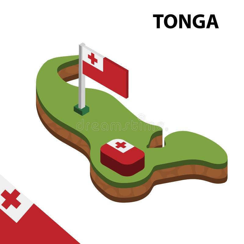 Карта информации графические равновеликие и флаг ТОНГИ r иллюстрация вектора