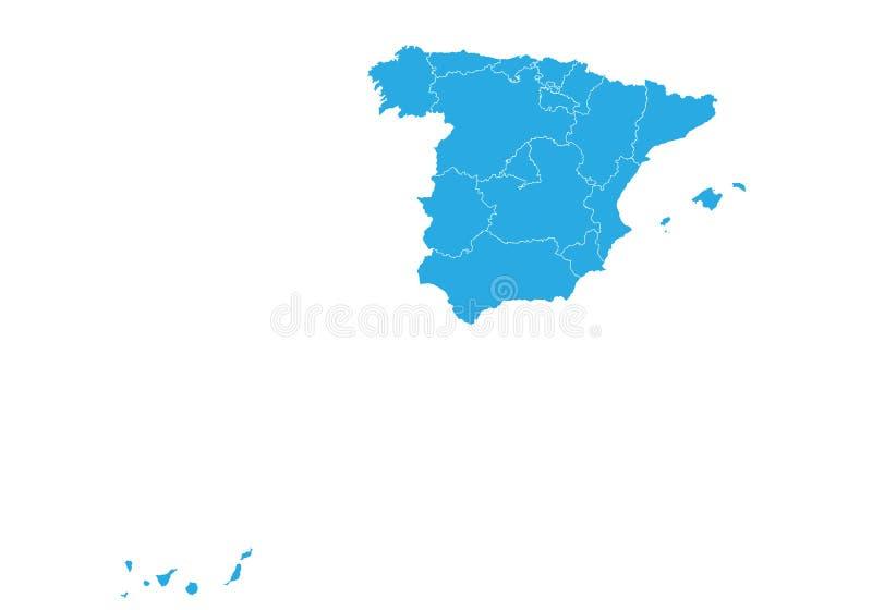 карта Испания Высокая детальная карта вектора - Испания бесплатная иллюстрация