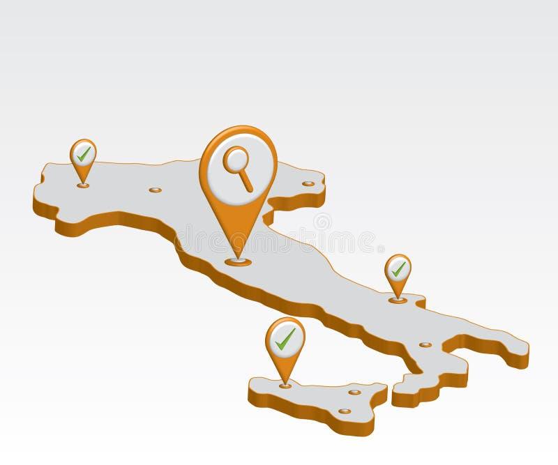 карта Италии иллюстрации 3d иллюстрация штока