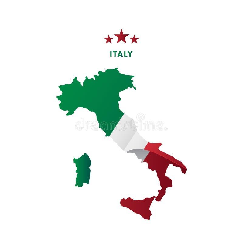 Карта Италии с развевая флагом также вектор иллюстрации притяжки corel бесплатная иллюстрация