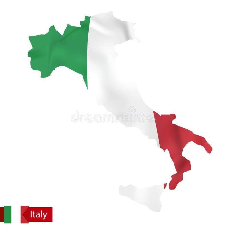Карта Италии с развевая флагом Италии бесплатная иллюстрация