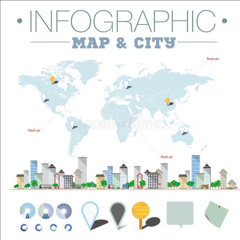 Карта и город Infographic иллюстрация штока