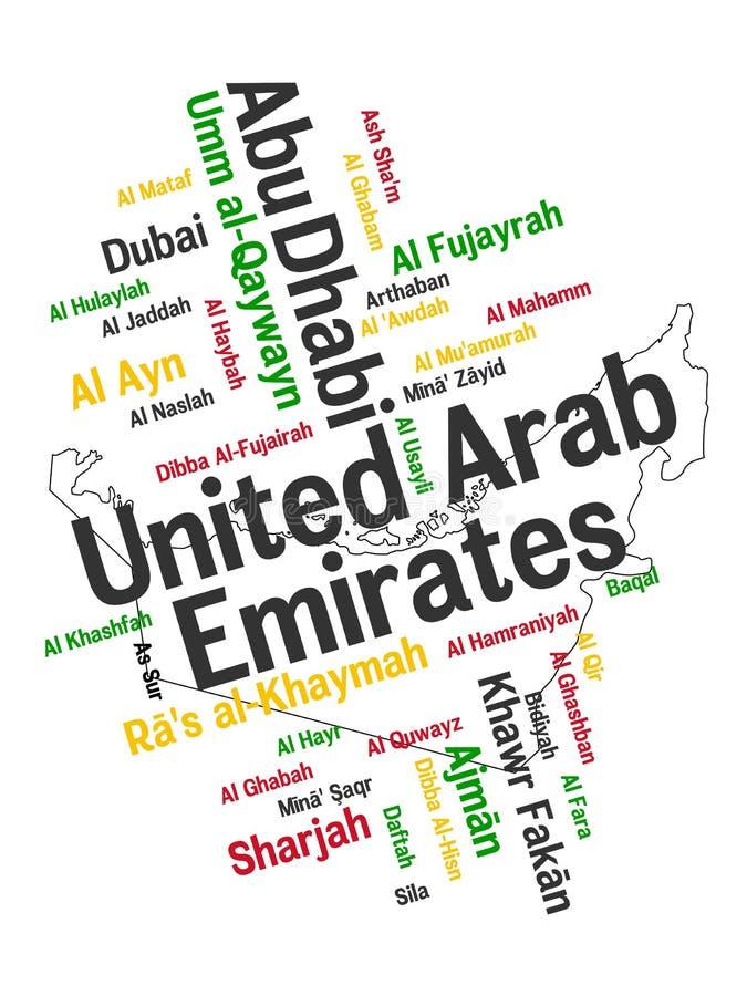 Карта и города ОАЭ иллюстрация вектора
