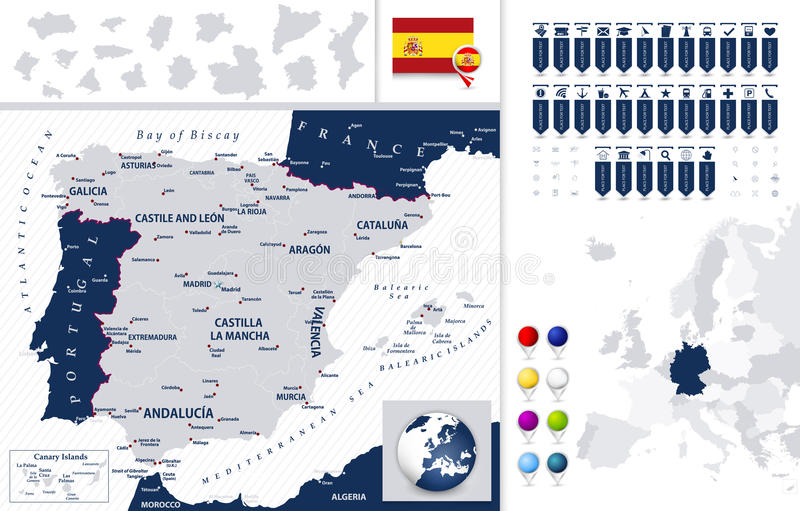 Карта и Испании положения иллюстрация штока