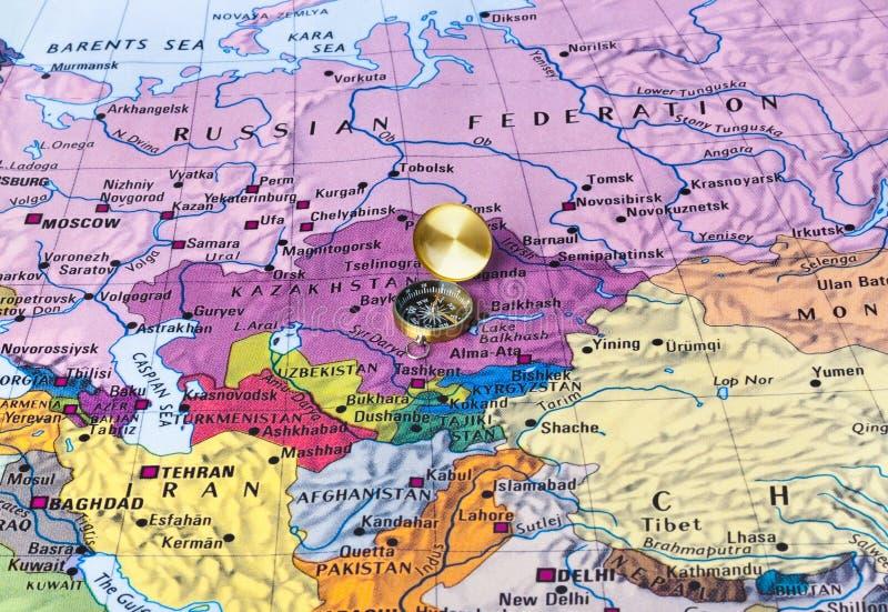 Карта и компас Азии стоковые фото