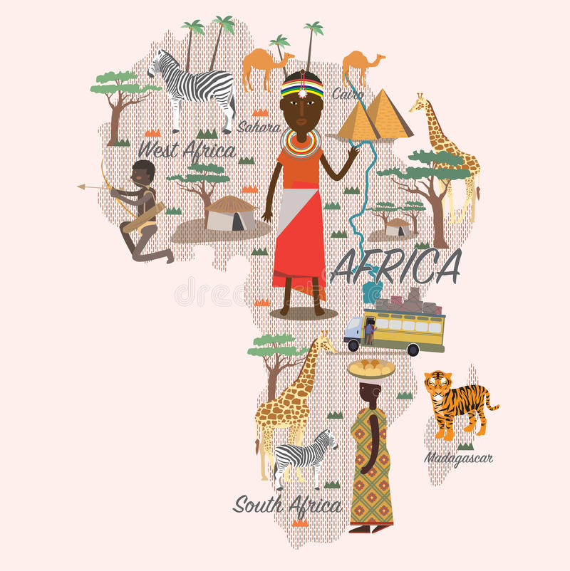 Карта и перемещение Африки иллюстрация вектора