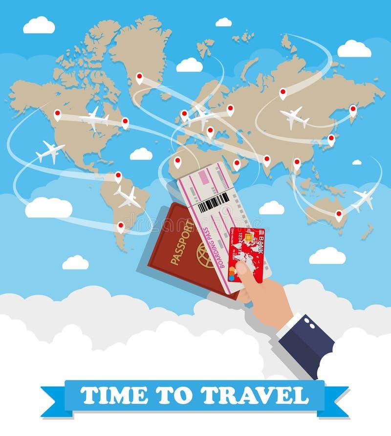 Карта и рука мира с пасспортом снабжают карточку билетами бесплатная иллюстрация