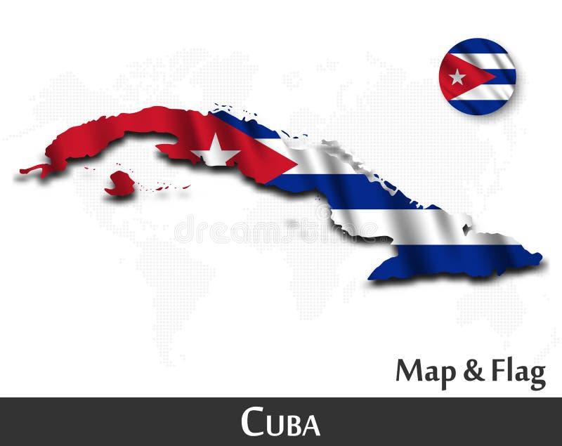 Карта и флаг Кубы Развевая дизайн ткани Предпосылка карты мира точки r иллюстрация вектора