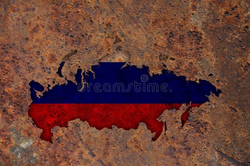 Карта и флаг России на ржавом металле стоковое фото rf