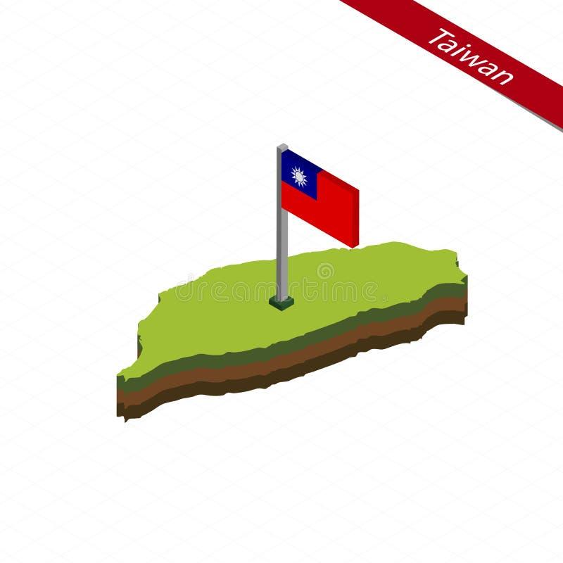 Карта и флаг Тайваня равновеликие также вектор иллюстрации притяжки corel бесплатная иллюстрация
