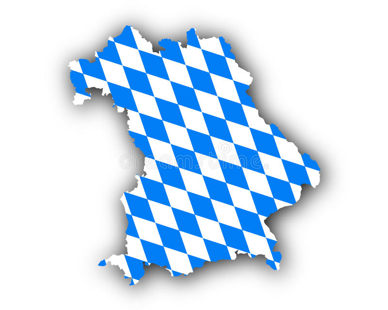 Карта и флаг Баварии иллюстрация штока