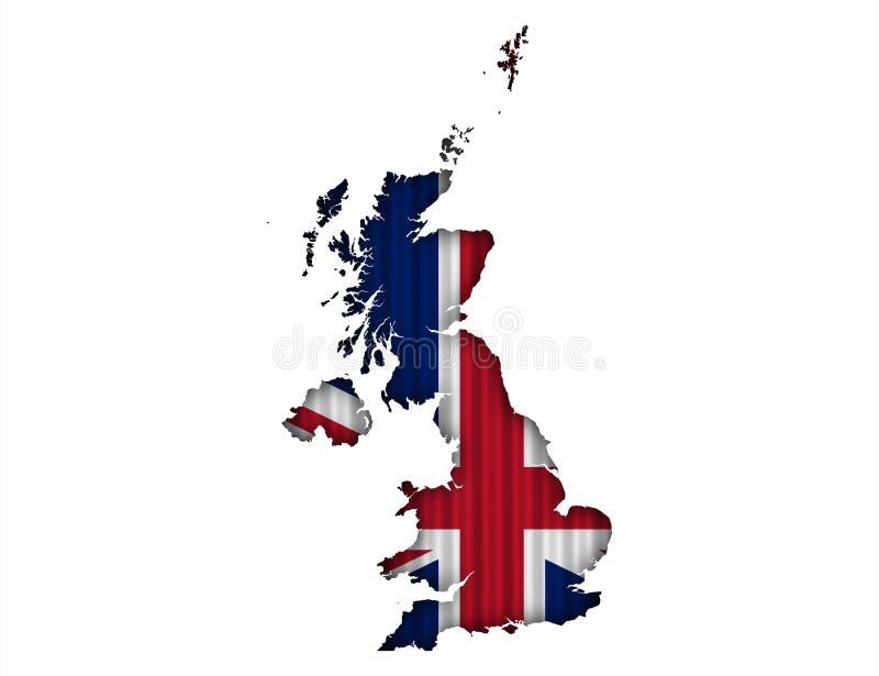 Карта и флаг Великобритании на волнистом железе, иллюстрация штока
