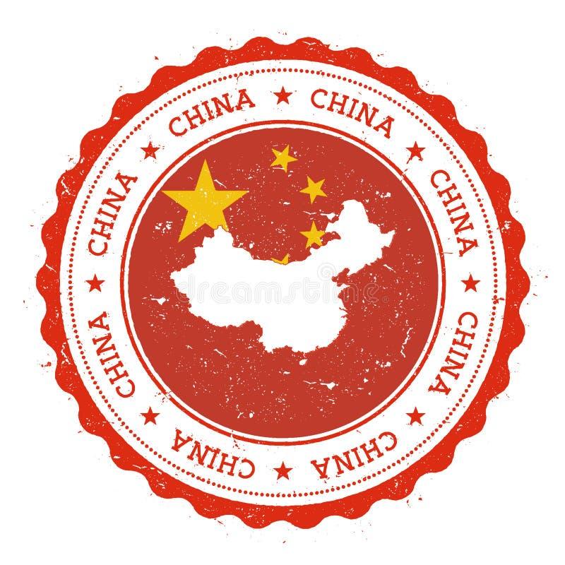 Карта и флаг Китая в винтажной избитой фразе иллюстрация вектора