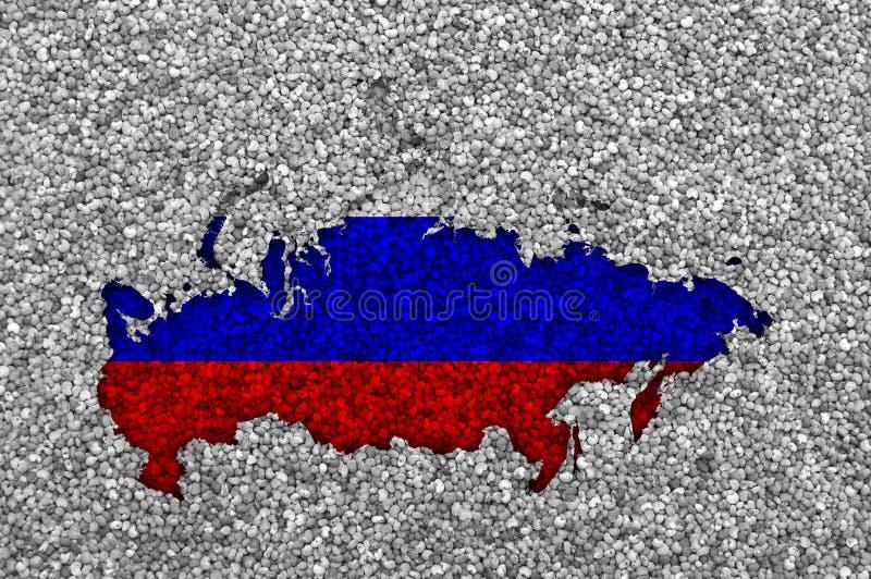 Карта и флаг России на маковых семененах стоковая фотография