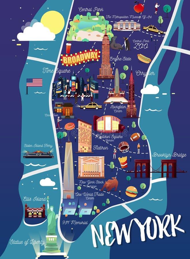 Карта иллюстрации Нью-Йорка Манхаттана иллюстрация вектора
