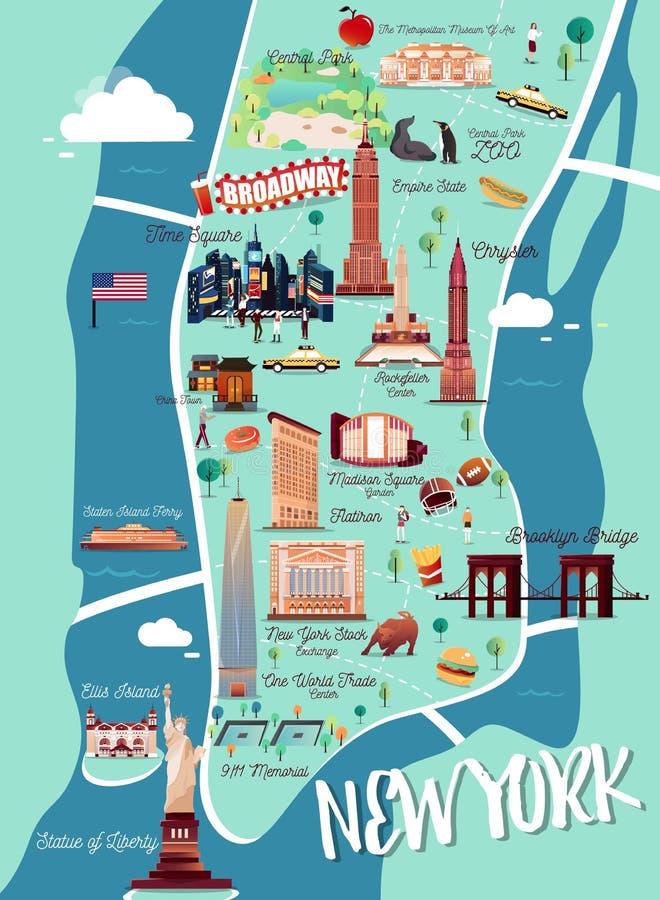 Карта иллюстрации Нью-Йорка Манхаттана иллюстрация штока