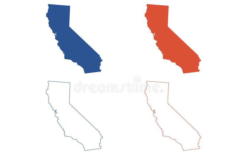 Карта Калифорнии иллюстрация вектора