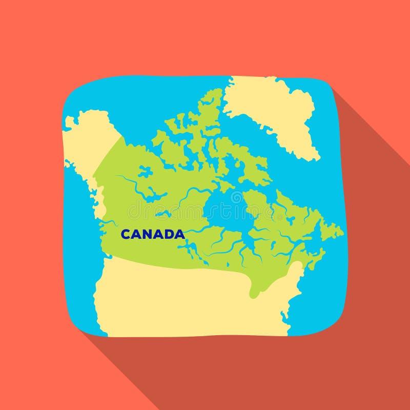 карта Канады Значок Канады одиночный в плоской сети иллюстрации запаса символа вектора стиля иллюстрация штока