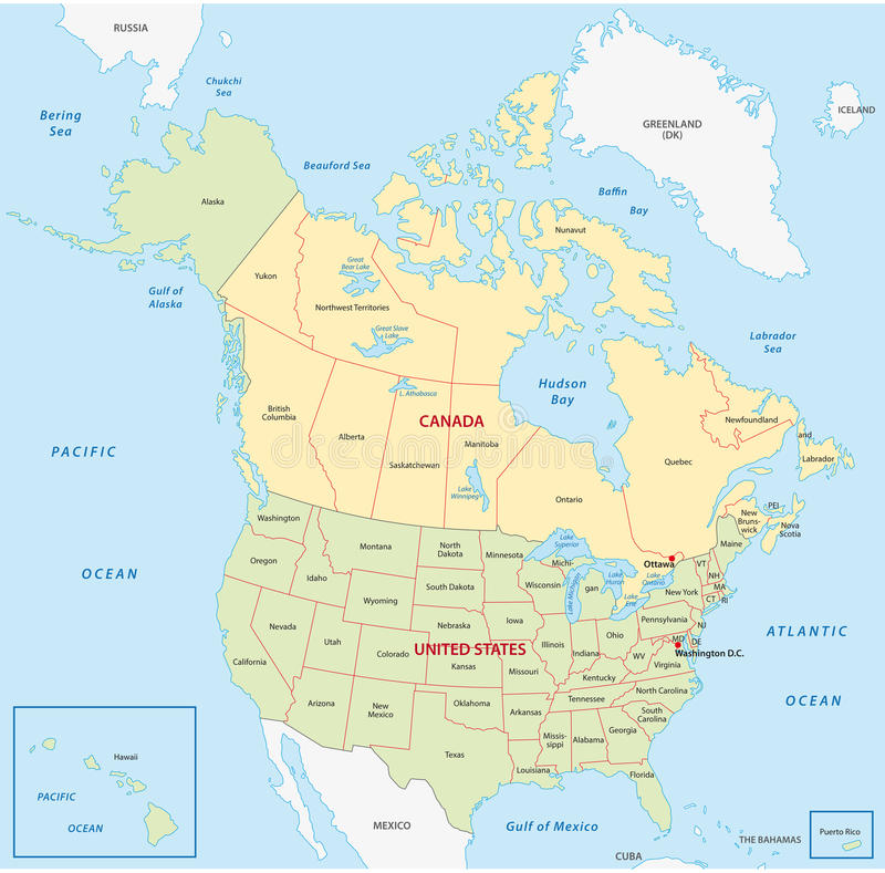 Карта Канады и Соединенных Штатов бесплатная иллюстрация