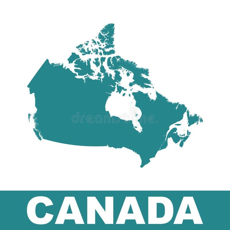 карта Канады континентальная политическая Плоская иллюстрация вектора иллюстрация вектора