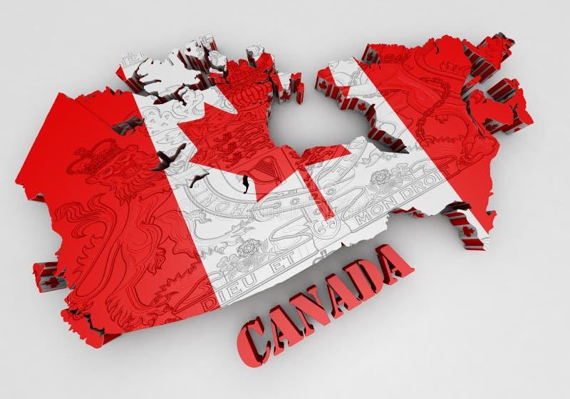 Карта Канады с цветами флага стоковое изображение rf