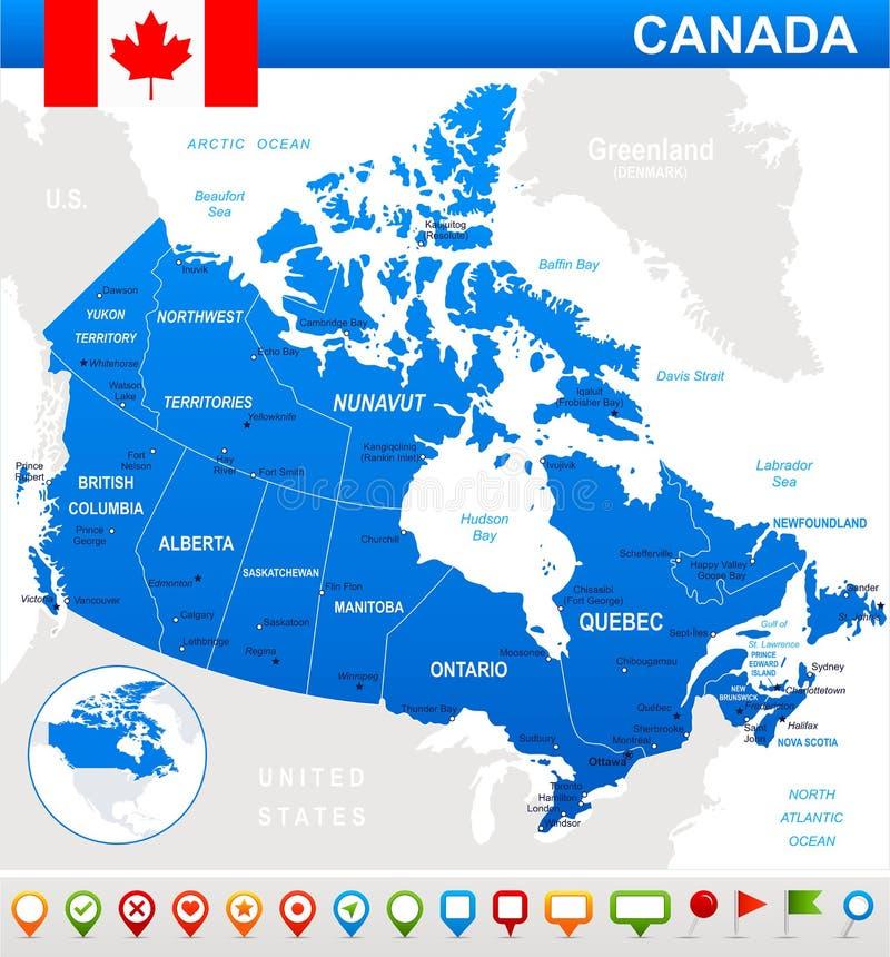 Карта Канады, флаг и значки навигации - иллюстрация иллюстрация вектора