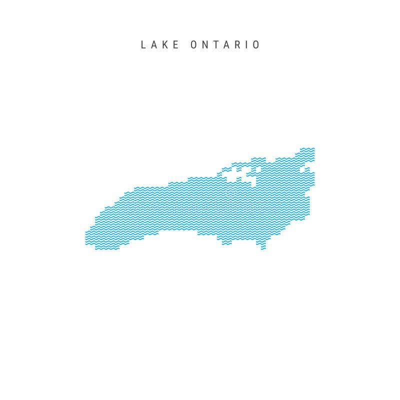 Карта картины волны вектора голубая Lake Ontario Волнистая линия силуэт картины Lake Ontario бесплатная иллюстрация