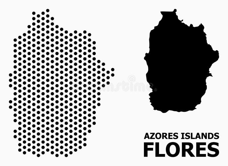Карта картины Pixelated Азорских островов - острова Flores иллюстрация вектора