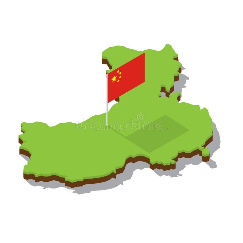 Карта Китая с флагом равновеликим стоковое фото
