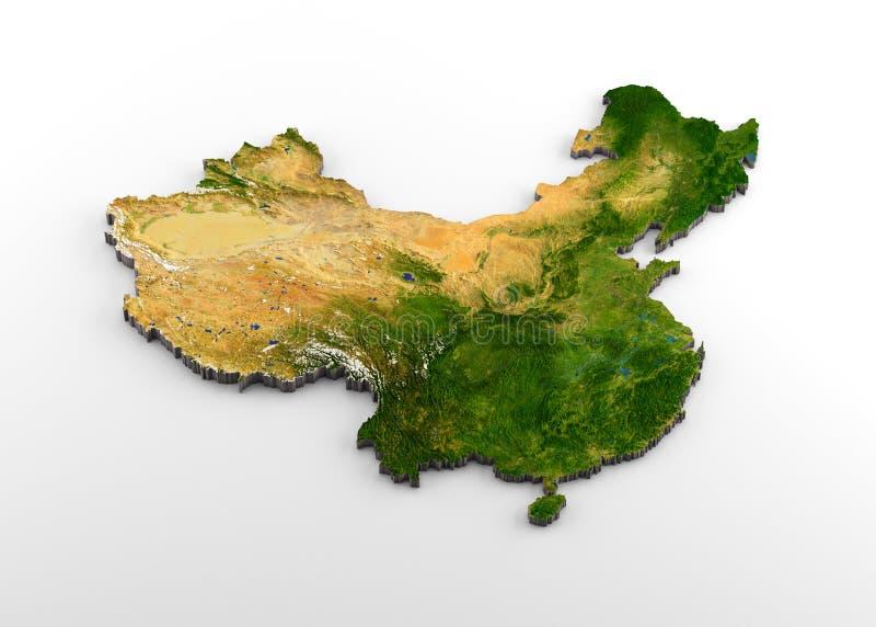 Карта Китая 3D физическая с сбросом иллюстрация штока