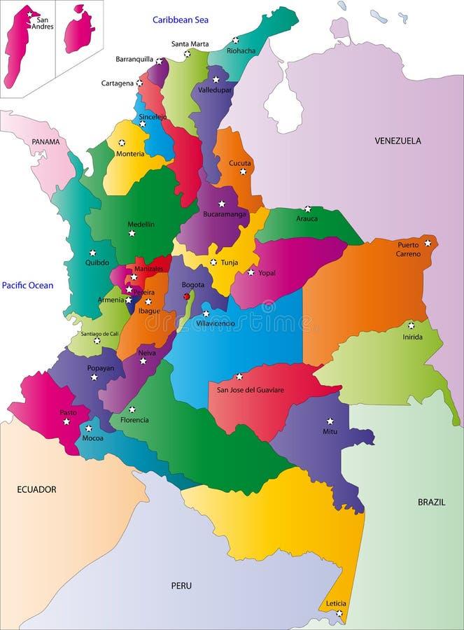 Карта Колумбии иллюстрация штока