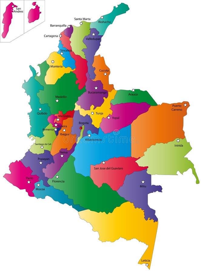 Карта Колумбии иллюстрация вектора