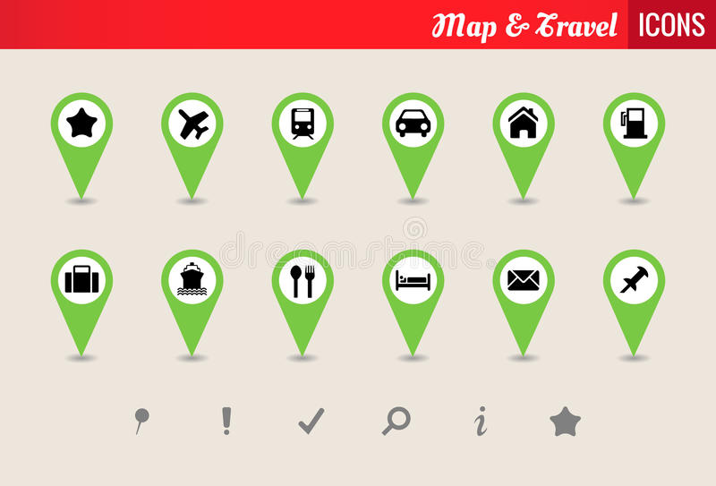 Карта & комплект иконы вектора перемещения иллюстрация штока