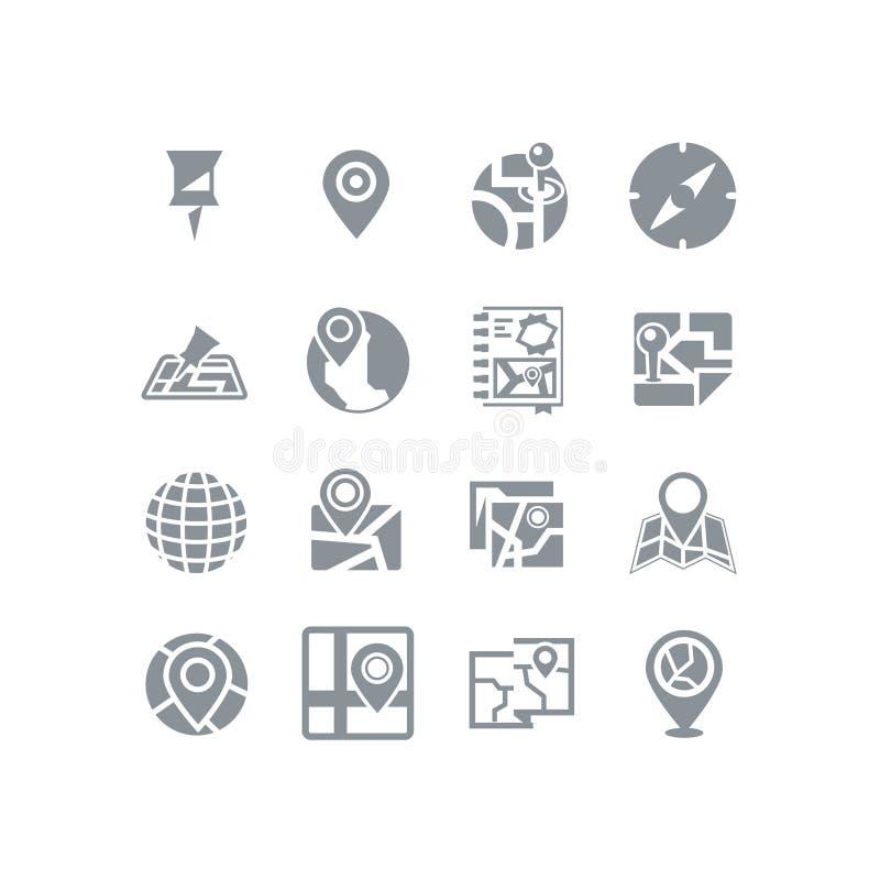 Карта & комплект значка навигации бесплатная иллюстрация