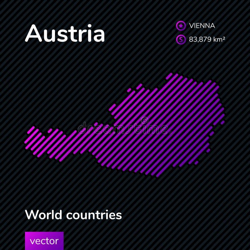 Карта конспекта вектора Австрии в цветах пинка, фиолетовых и черных иллюстрация штока