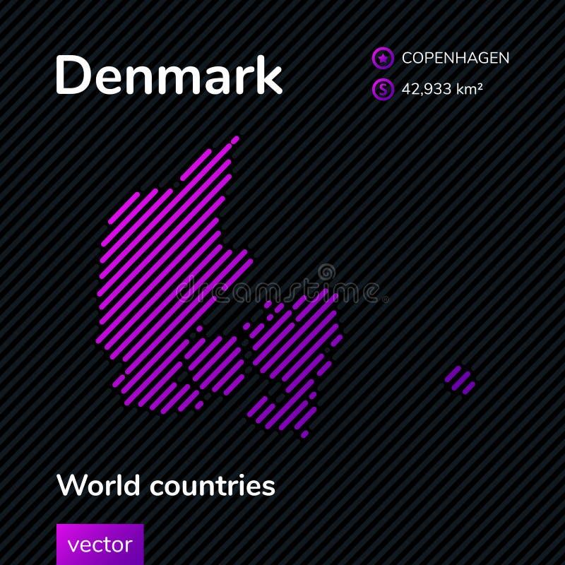 Карта конспекта вектора Дании иллюстрация вектора