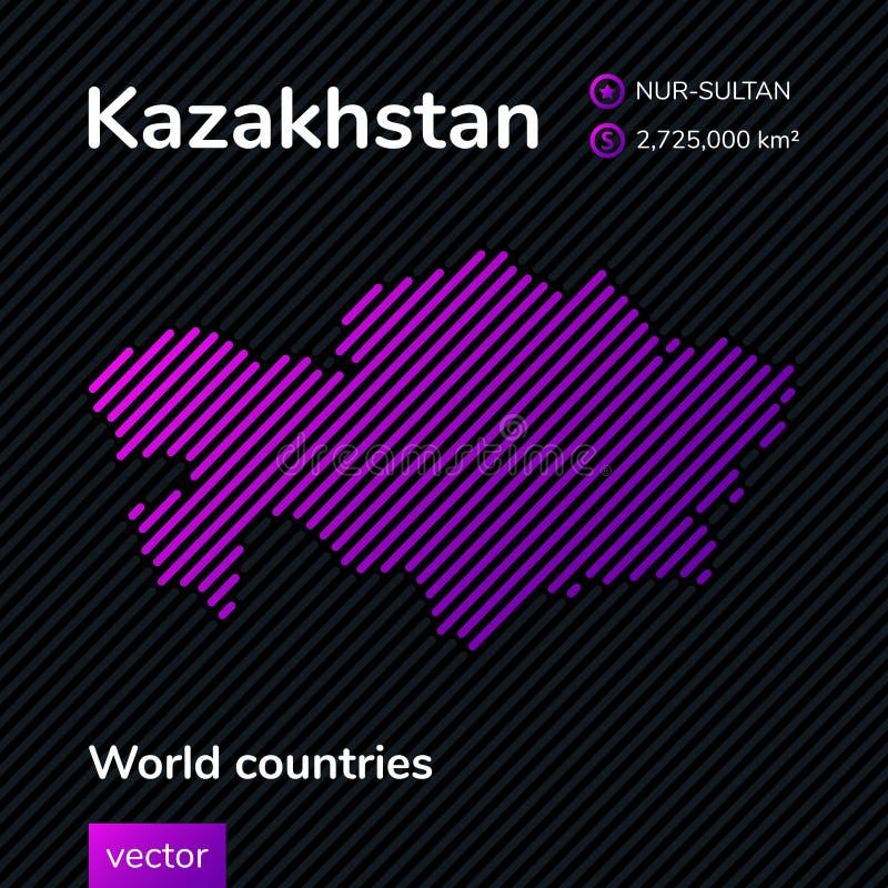 Карта конспекта вектора Казахстана Новая столица Казахстана - Nur-султана иллюстрация штока