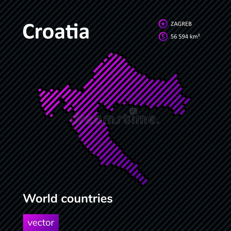 Карта конспекта вектора Хорватии иллюстрация вектора