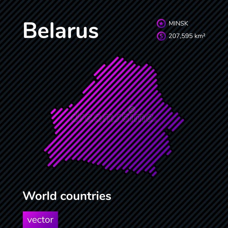Карта конспекта вектора Belorus с фиолетовой striped текстурой и striped темной предпосылкой бесплатная иллюстрация